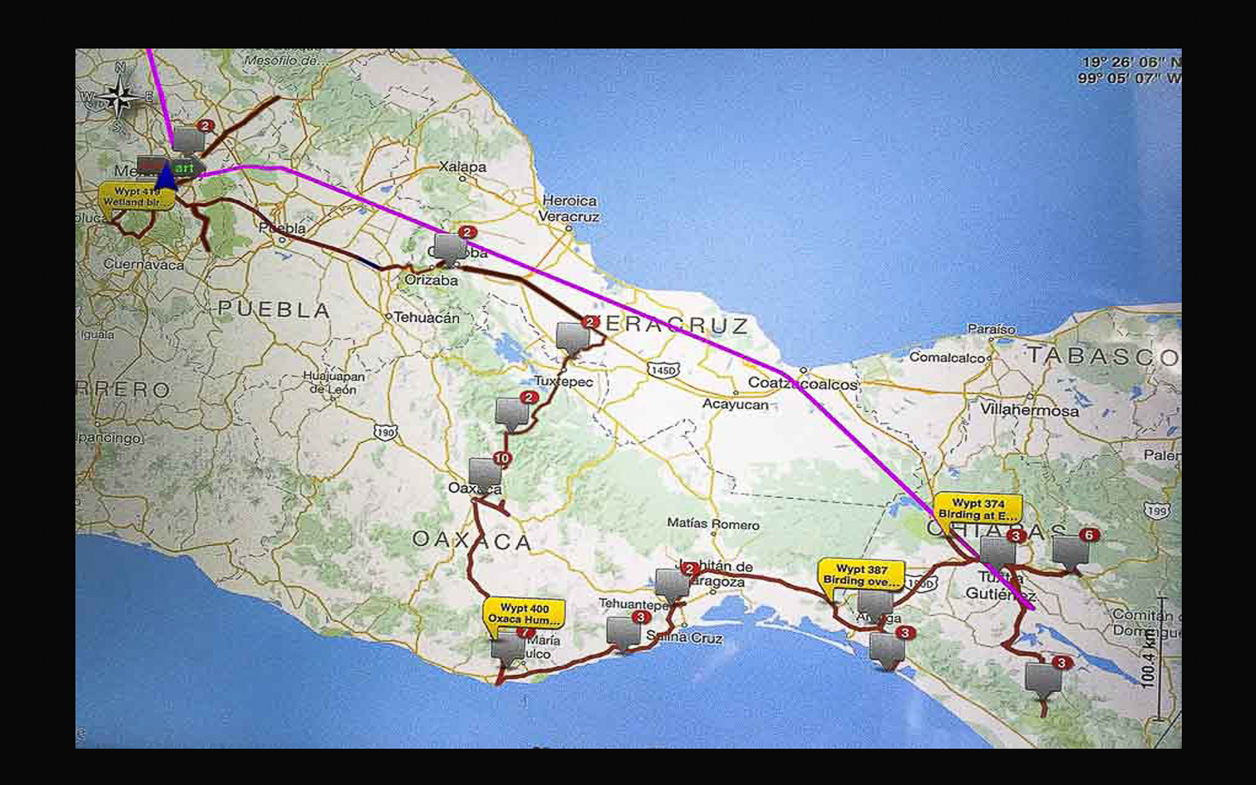 birding tracker map southern mexico april 2016