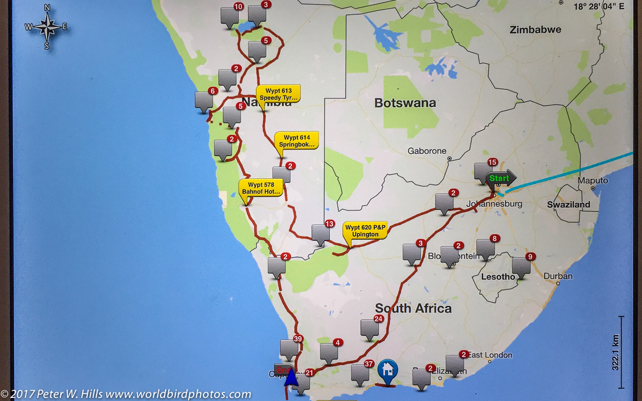 Birding Tracking Map - Namibia & South Africa May 2017 ...